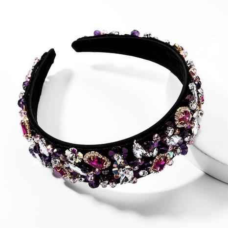 Diamante de cristal de moda con tachuelas flor diadema femenina super flash accesorio de pelo lateral ancho NHJE174339's discount tags