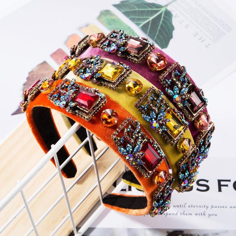 New rhinestone glass diamond diamond retro luxury headband women's flannel wide side super flash headband NHJE174344