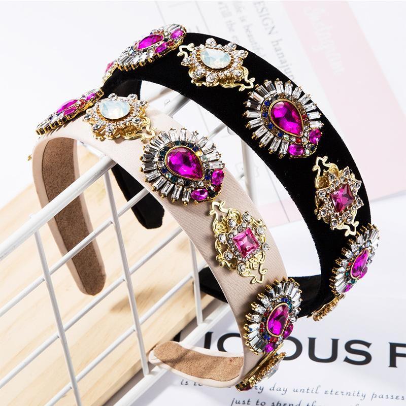 Fine hair accessories glass diamond diamond flower cloth headband wide side super flash headband NHJE174349