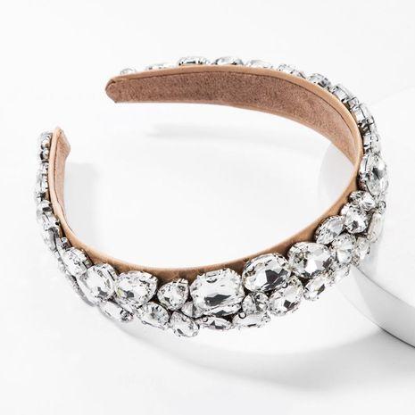 Diadema con taladro de vidrio, lado ancho, tela de diamante completo, accesorios para el cabello de baile para adultos exagerados NHJE174390's discount tags
