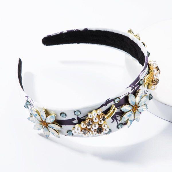 Fashion headband imitation pearl glass diamond diamond flower cloth headband hair accessories NHJE174407