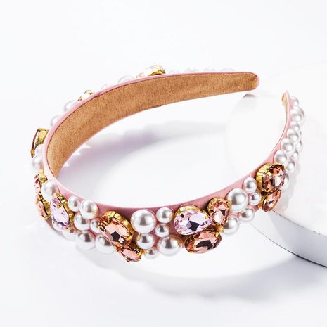 Moda Diamante de vidrio perla rosa Diadema de tela Lado ancho Super dulce Sen Accesorios para el cabello NHJE174416's discount tags