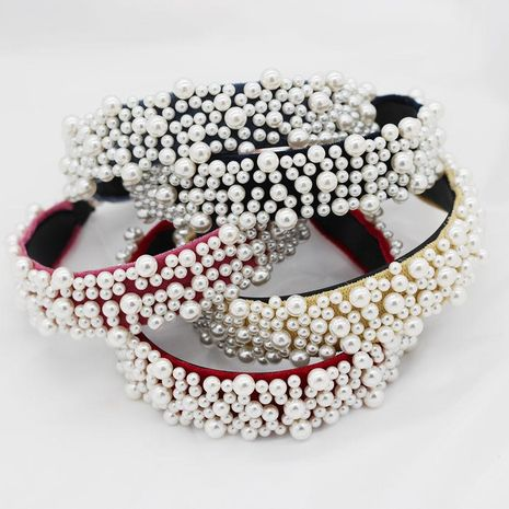 New Pearl Headband Irregular Multicolor Wild Fashion Ball Bridal Hair Accessories NHWJ173944's discount tags