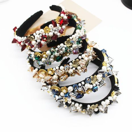 Baroque headband fashion ball geometric crystal full diamond hair accessories bridal headband NHWJ173945's discount tags