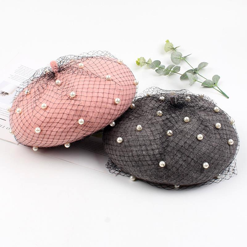 Beret mesh retro pumpkin Korean literary pearl wool woolen painter hat NHXO174431