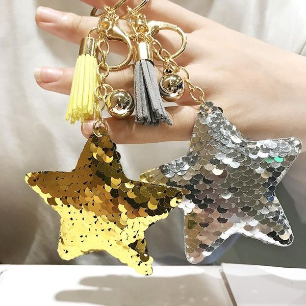 European and American hot-selling double-sided reflective sequins five-pointed star keychain NHCB174480