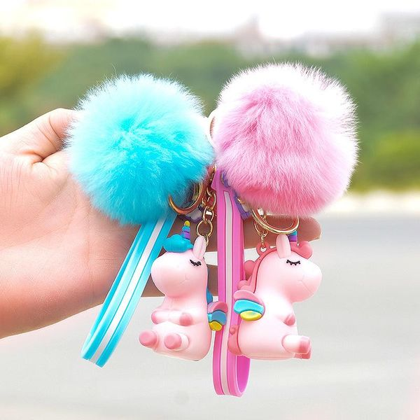 New silicone pony hair ball key chain autumn and winter ladies bag pendant NHCB174483