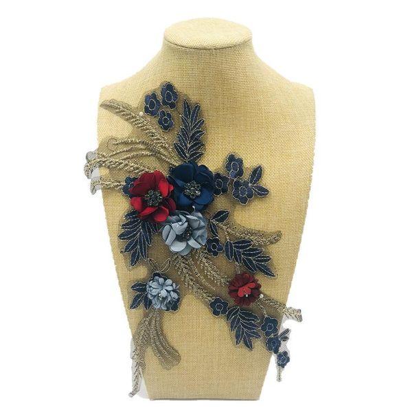Bordado nuevo encaje con cuentas uñas flor decoración calcomanía parche bordado DIY vaquero NHLT174240
