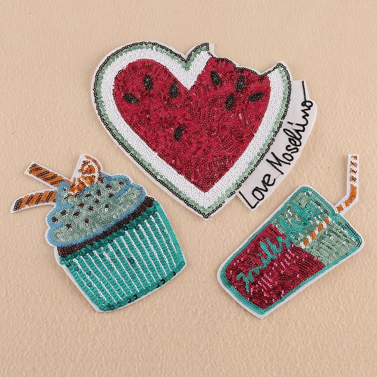Computer embroidery processing sequins embroidery watermelon drinks high-end clothing accessories supplement embroidery cloth stickers NHDX174263