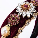New Baroque glass diamond studded pearl gold velvet headband palace wind retro hair accessories NHJE174338