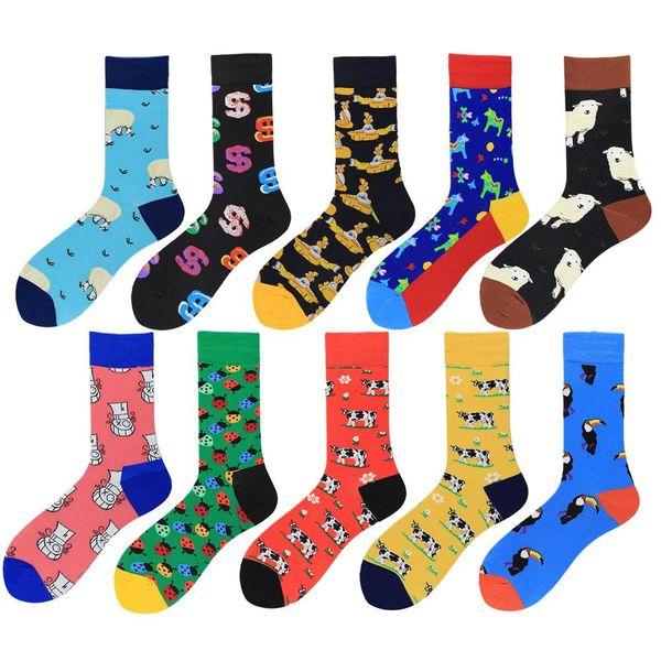 New happy farm animal series tide socks men's tube cotton socks NHZG176896