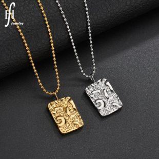 Retro geometric design square tide brand pendant concave and convex clavicle chain female necklace square necklace NHHF176889's discount tags