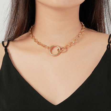Punk style simple double ring buckle chain necklace hip hop short necklace NHDP176876's discount tags