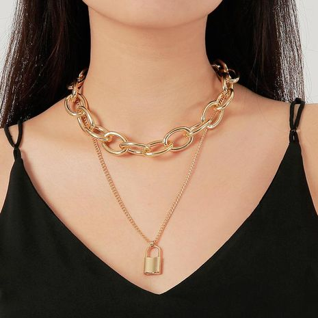 New Jewelry Punk Exaggerated Double Chain Necklace Vintage Lock Necklace NHDP176877's discount tags