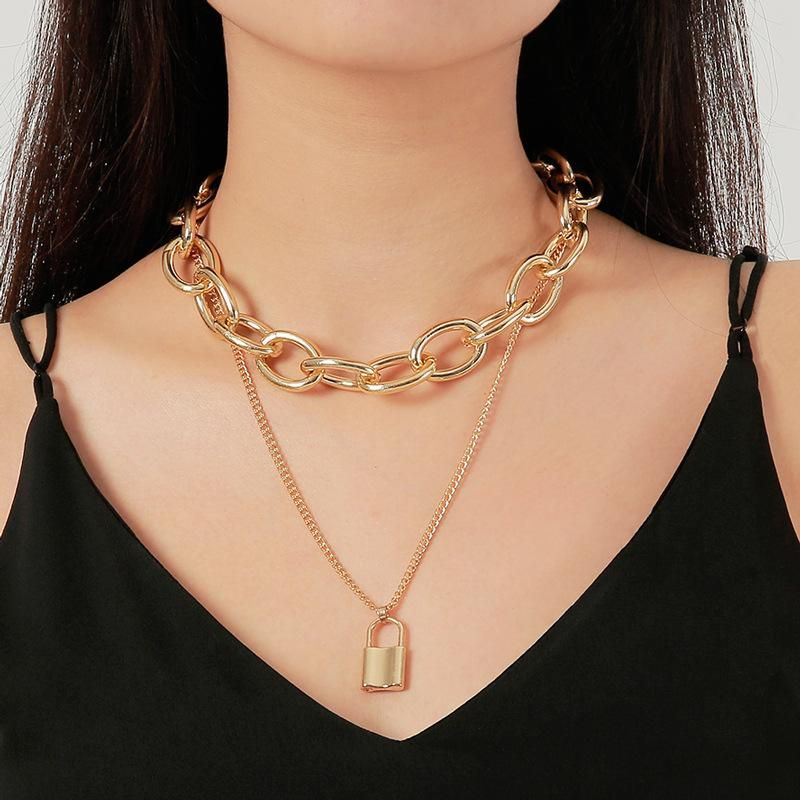 New Jewelry Punk Exaggerated Double Chain Necklace Vintage Lock Necklace NHDP176877