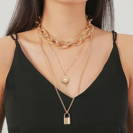 Punk lock long chain necklace fashion round opal multi-layer sweater chain NHDP176878's discount tags
