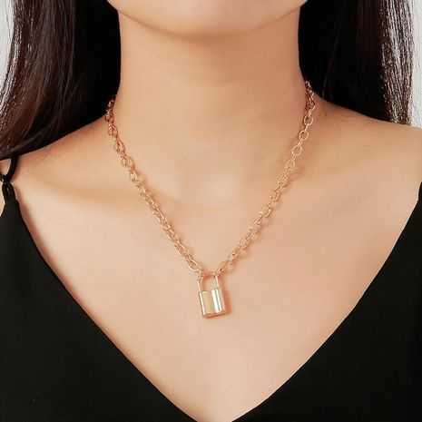 New jewelry sleek minimalist retro metal short lock necklace clavicle chain NHDP176879's discount tags