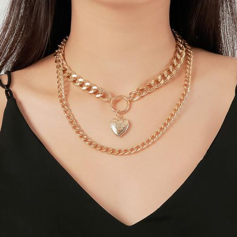 Moda doble colgante de amor exagerada cadena de suéter collar de cadena gruesa NHDP176880's discount tags