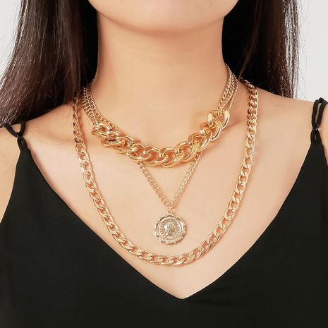Metal Exaggerated Chain Necklace Human Face Coin Clavicle Chain NHDP176881's discount tags