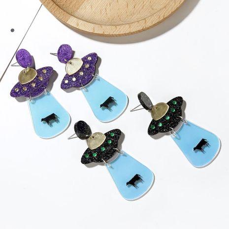 Pendientes acrílicos calientes gracioso nave espacial ovni platillo volante lindos pendientes fluorescentes exagerados de moda femenina NHXI176915's discount tags
