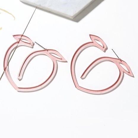 Fruit earrings fresh and lovely exaggerated hollow large leaves peach peach peach earrings NHXI176920's discount tags