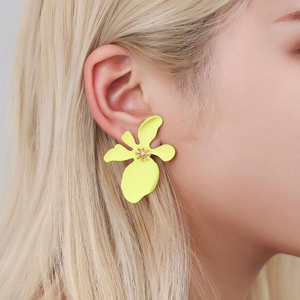 Fashion color spray paint exaggerated earrings sweet girl is irregular personality flower earrings NHDP176885
