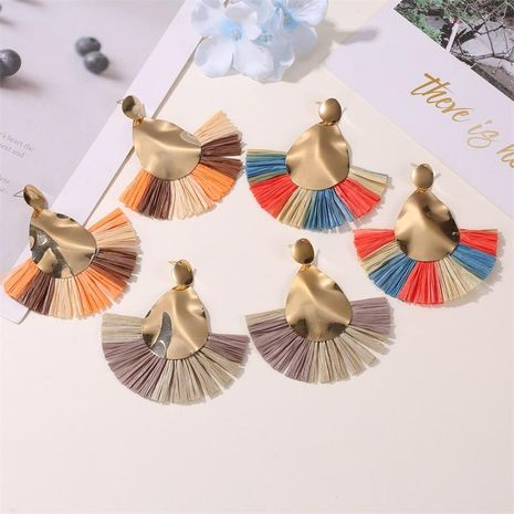 New earrings creative color origami exaggerated fan-shaped earrings female NHDP176883's discount tags