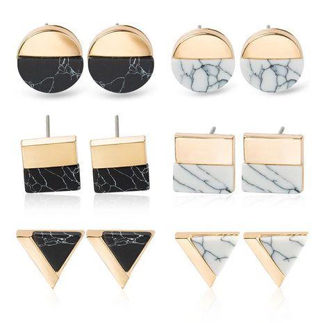Retro Triángulo Redondo Cuadrado Medio Lado Turquesa Aretes Pendientes Geométricos Simples NHDP176888's discount tags