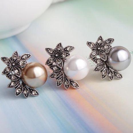 Super Vintage Pearl Five Leaf Flower Shell Pearl Earrings Stud Earrings NHXI176898's discount tags