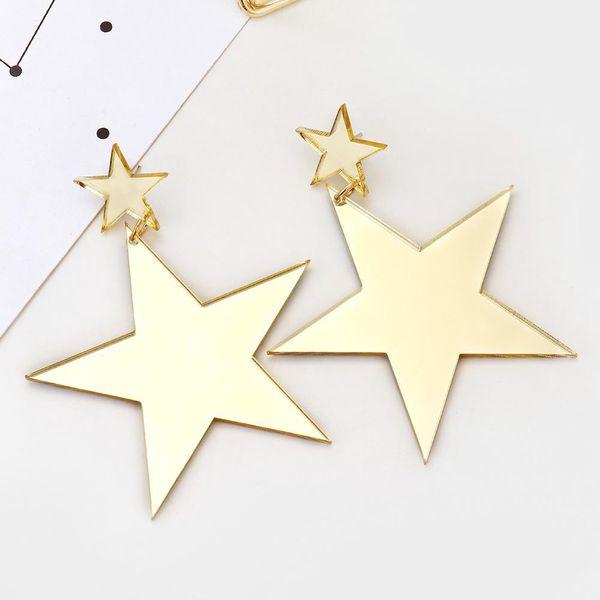 Aretes de estrella de cinco puntas de acrílico dorado de moda pendientes largos creativos NHXI176899