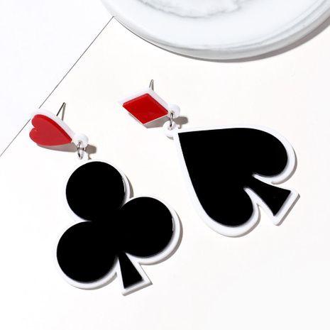 Creative new acrylic earrings poker black peach heart plum long earrings fashion lucky earrings female NHXI176903's discount tags