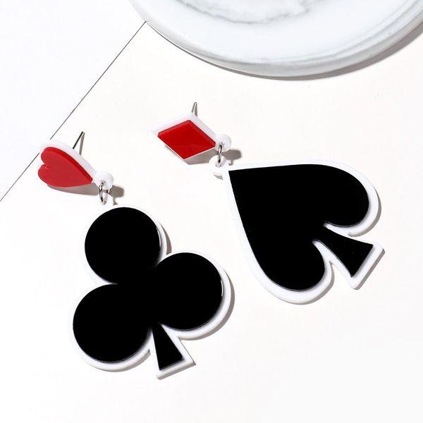 Aretes de acrílico nuevos y creativos póquer negro melocotón corazón ciruela pendientes largos pendientes de moda para mujer NHXI176903
