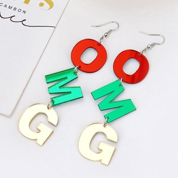 Nuevos Aretes de alfabeto de acrílico OMG de color creativo exagerado de joyería de oreja NHXI176904
