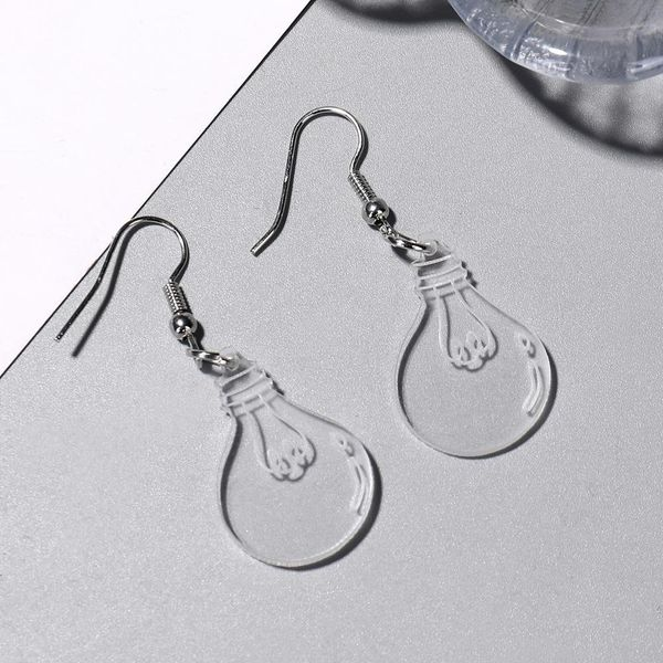 Pendientes de bulbo lindos pendientes de acrílico transparentes divertido divertido clip de oreja de personalidad femenina NHXI176909