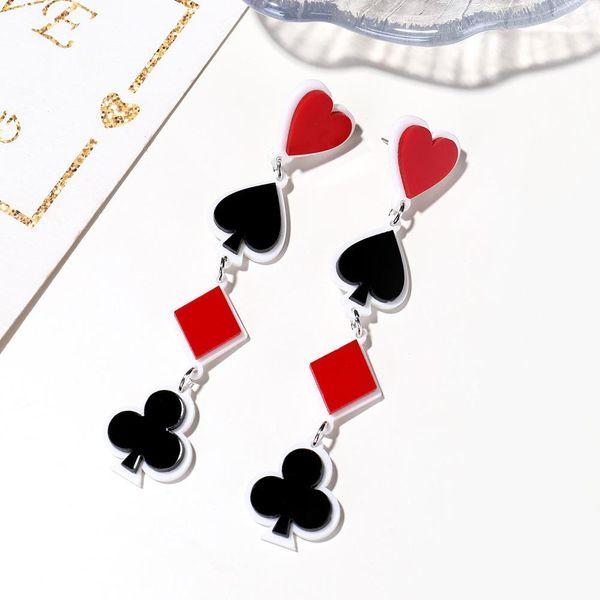 Nuevo acrílico Poker Heart Square Plum Blossom Pendientes largos Pendientes Fashion Lucky Stud Pendientes NHXI176911