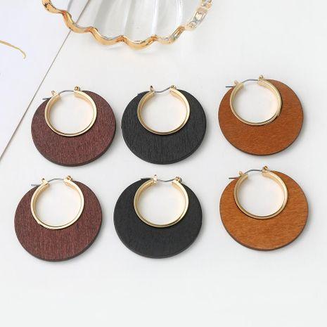 Pendientes de madera huecos geométricos de moda pendientes de aleación simple pendientes pendientes de joyería femenina NHXI176918's discount tags