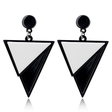 Black and white color matching triangle acrylic earrings female resin stitching stud earrings NHXI176913's discount tags