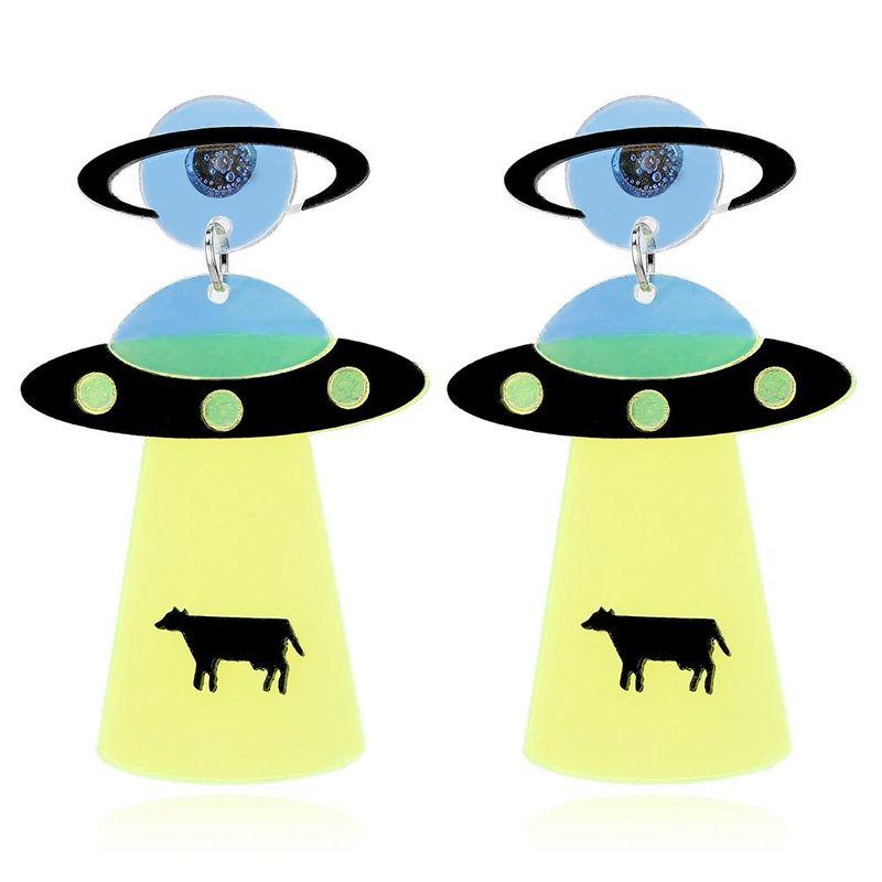 Nuevos aretes de acrílico Aretes Extraterrestres divertidos OVNI Lindos pendientes fluorescentes exagerados NHXI176916