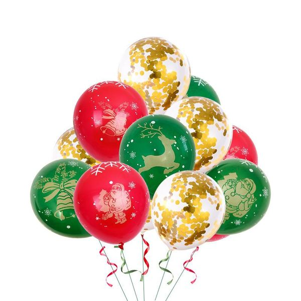 Red Green Christmas Balloon Latex 12 Inch Bronzing 5 Faces All Printed Color Latex Round Christmas Balloons NHSG177031