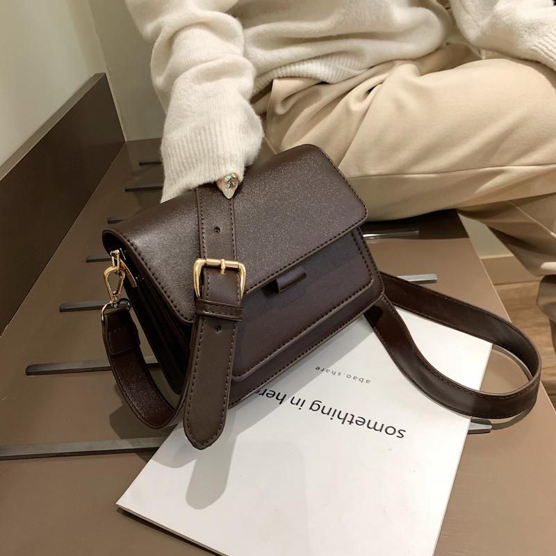 Solid color fashion bag female new fashion simple wide shoulder strap slung shoulder bag small square bags NHXC177361