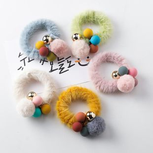 Korean version of the hair ball plush hair ring color contrast color ball hair rope cute sweet NHMS177111's discount tags