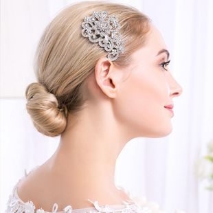 Bridal dress insert comb comb accessories alloy flower rhinestone multi-tooth insert comb NHHS177188's discount tags