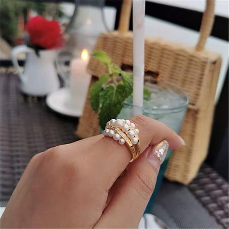 Luxury Ring Micro-set Diamond with Pearl Ring Copper NHYQ177308's discount tags