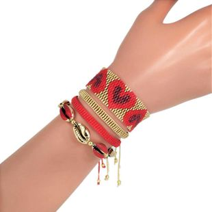 Love shell net red set ornament Miyuki imported rice beads hand-woven female bracelet NHGW177192's discount tags
