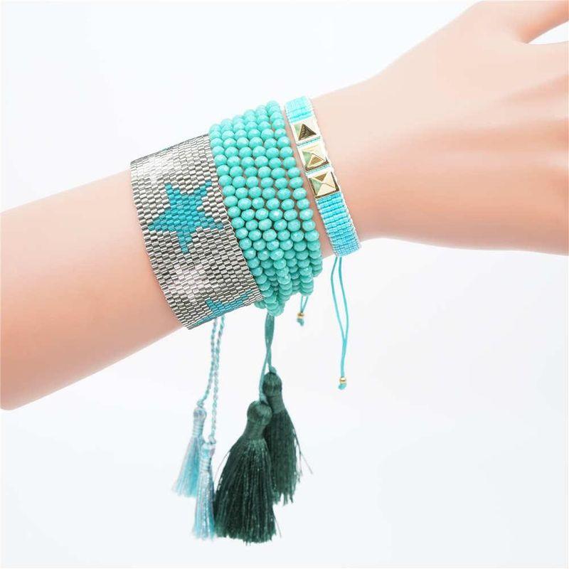 New fashion rivet women's suit star bracelet Miyuki woven rice beads jewelry NHGW177193
