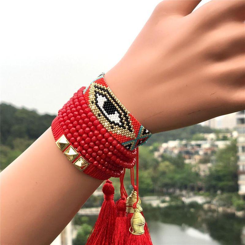 Miyuki rice beads braided ladies bracelet red suit Turkish devil eye jewelry NHGW177211