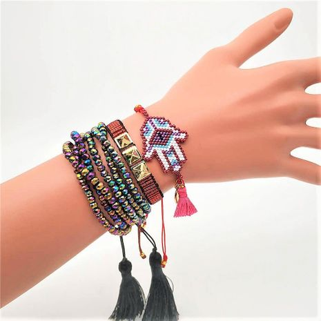 Miyuki woven rice beads palm set rivet punk wind crystal tassel bracelet NHGW177214's discount tags
