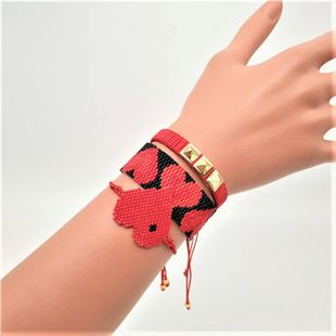 Rivet bracelet Miyuki rice beads woven red love set jewelry NHGW177215's discount tags