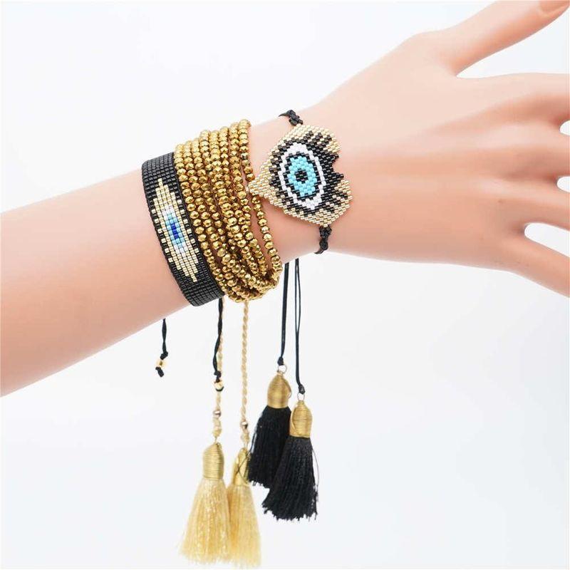 Miyuki Japanese rice beads braided ladies bracelet devil's eye set ornament NHGW177218