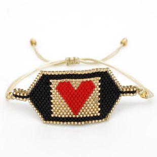Miyuki rice beads woven Quartet gold beads tassel love heart bracelet explosion models friendship rope NHGW177223's discount tags
